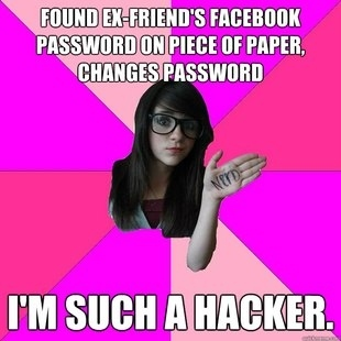 idiot nerd girl hacker